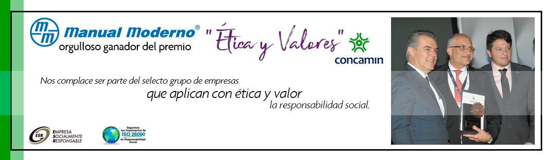 Premio ética y valores en la industria 2018 otorgado a Manual Moderno, por la Confederación de Cámaras Industriales de los Estados Unidos Mexicanos, CONCAMIN